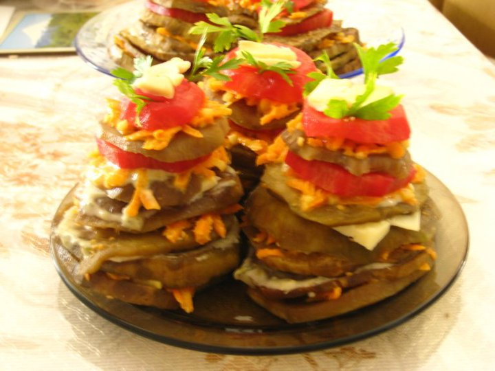 Aubergine towers, personal recipe