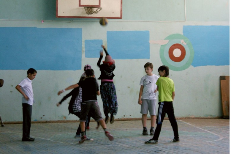Muslim girls playing basketball